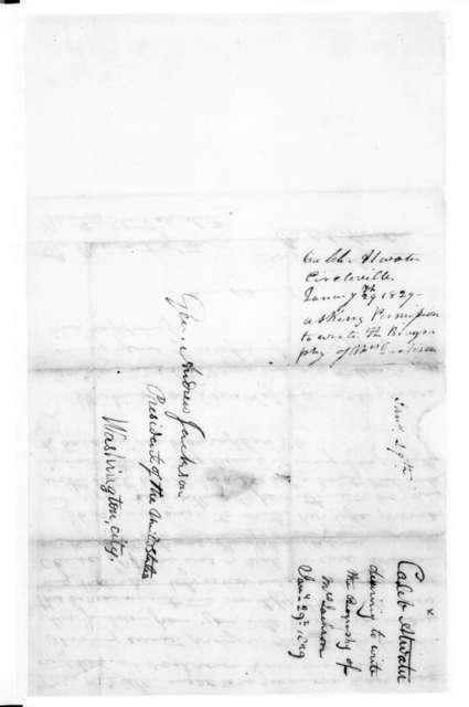 Caleb Atwater to Andrew Jackson, January 29, 1829