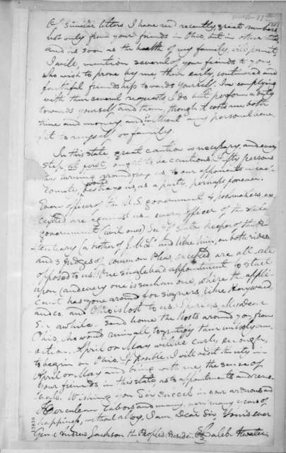 Caleb Atwater to Andrew Jackson, March 13, 1829