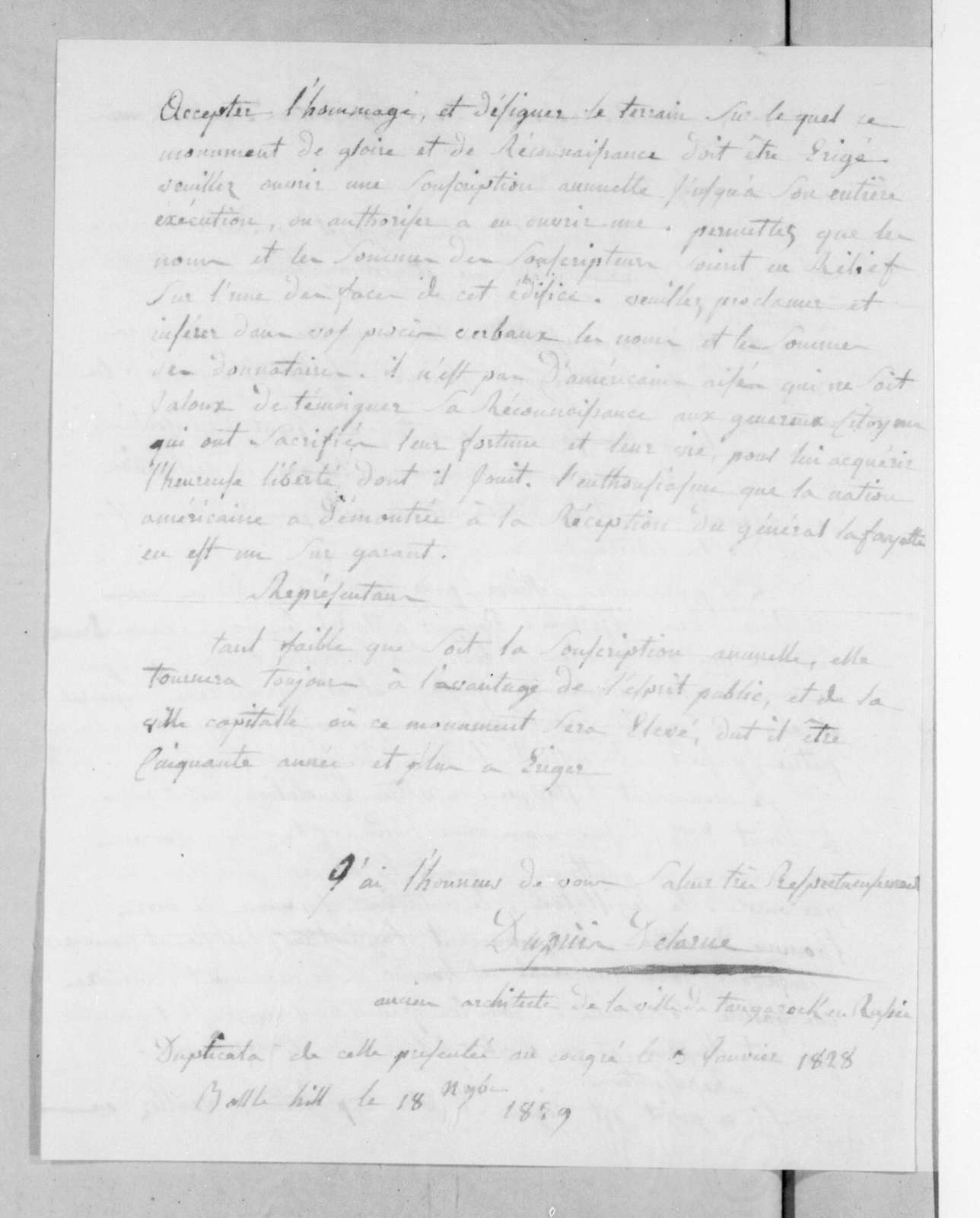 Dupuis Delarue to United States Congress, November 18, 1829