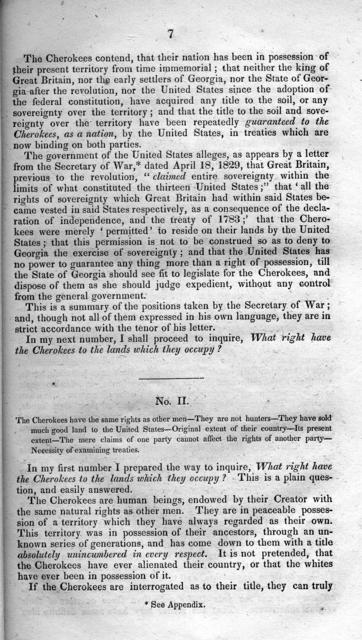 Essays on the present crisis in the condition of the American Indians / first published in the National Intelligencer, under the signature of William Penn