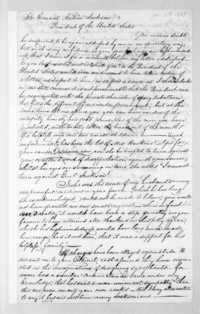 Frances Walton Pope to Andrew Jackson, January 8, 1829