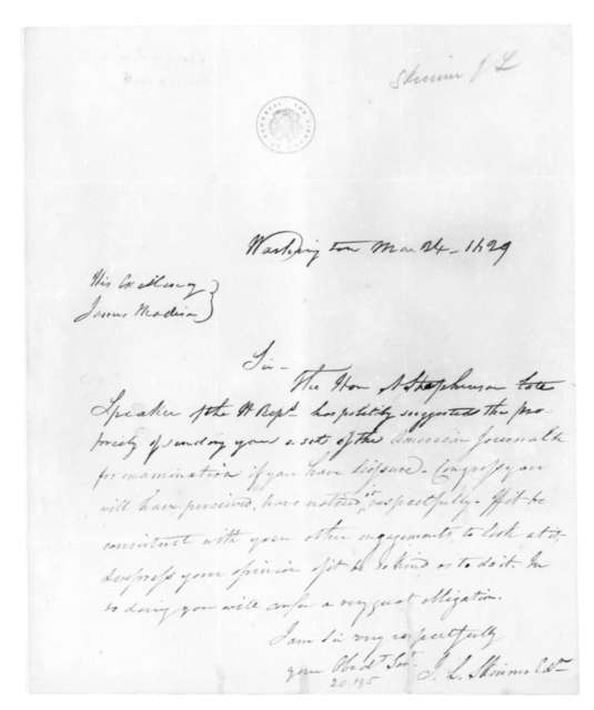 J. L. Skinner to James Madison, March 24, 1829.