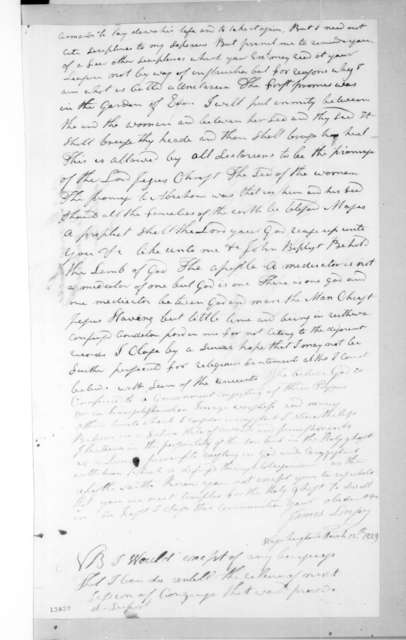 James Linsey to Andrew Jackson, March 12, 1829