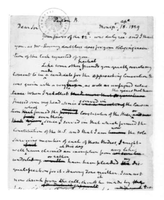 James Madison to B. Peyton, April 18, 1829.