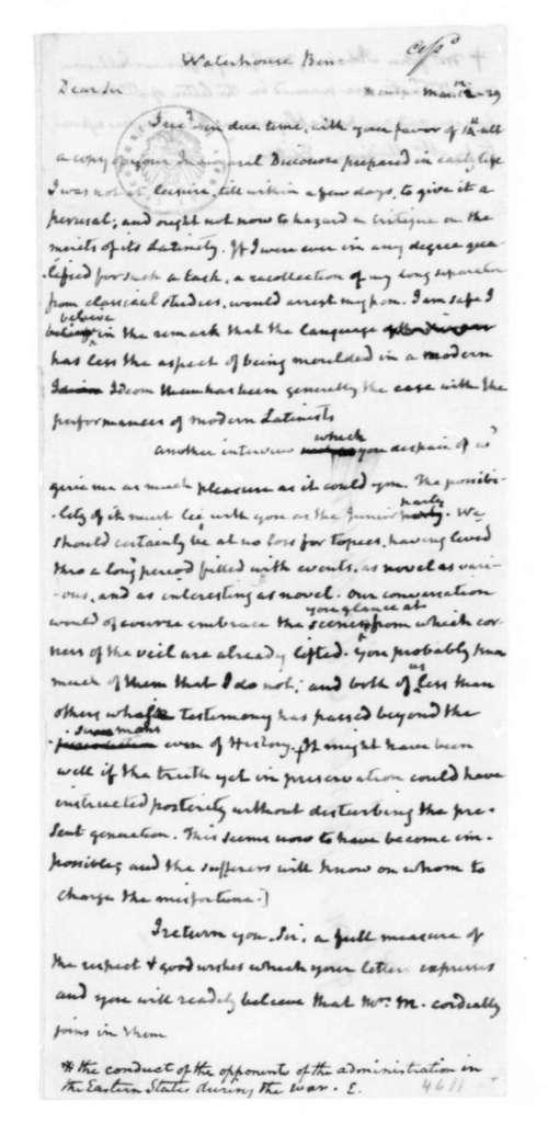 James Madison to Benjamin Waterhouse, March 12, 1829.