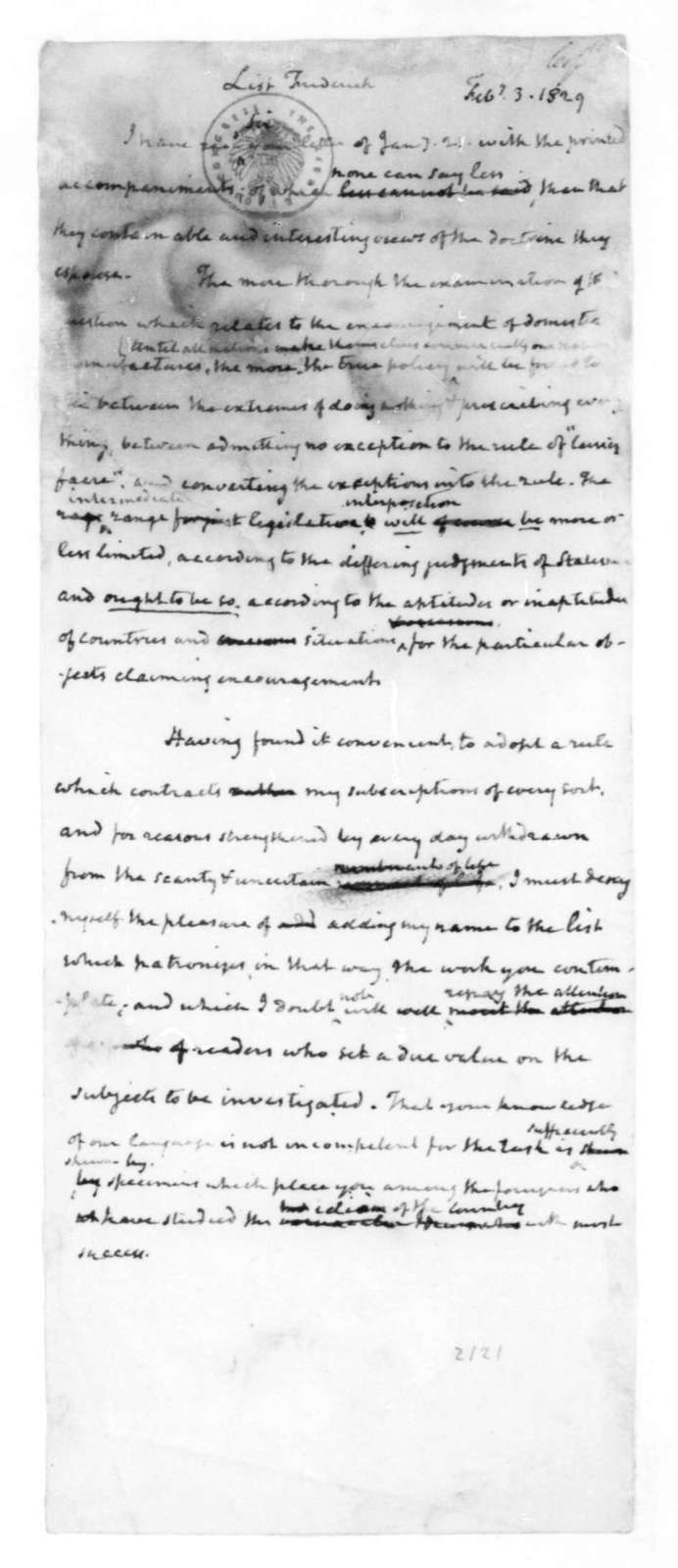 James Madison to Frederick List, February 3, 1829.