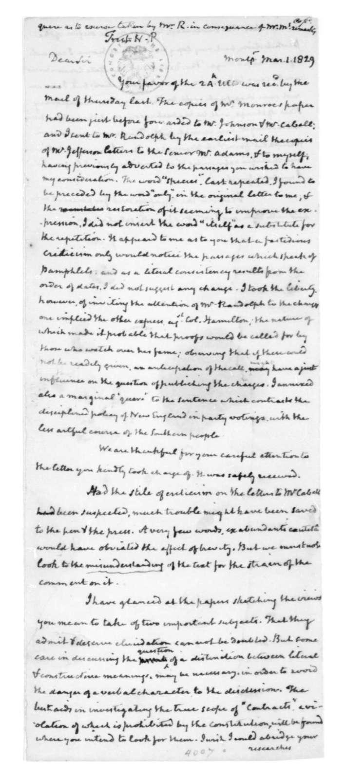 James Madison to Nicholas P. Trist, March 1, 1829.
