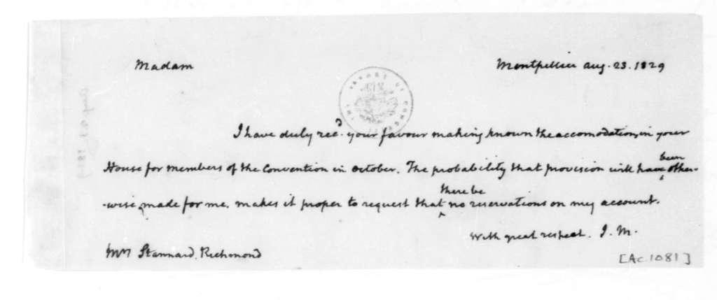 James Madison to Stanard, August 23, 1829.