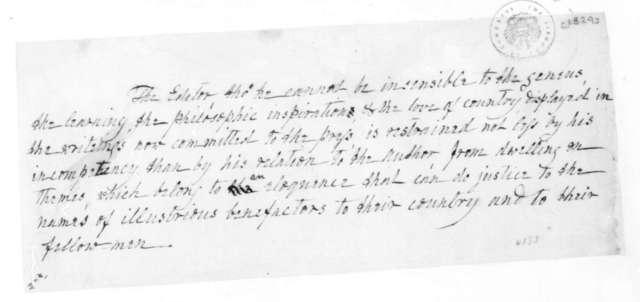 James Madison to Unknown. Note-Portfolio Edition, Memoir of Jefferson. 1829.