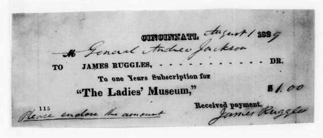 James Ruggles to Andrew Jackson, August 1, 1829