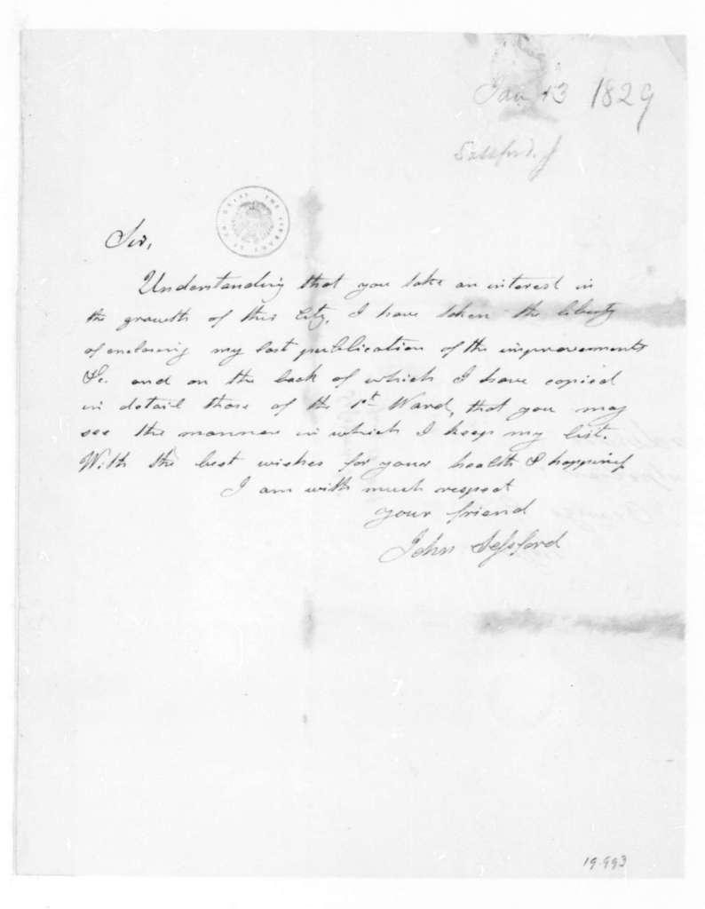John Sessford to James Madison, January 13, 1829.