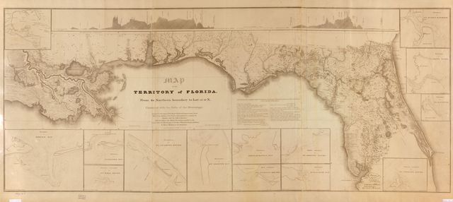 Map of the territory of Florida, from its northern boundary to lat. 27⁰30ʹN, connected with the delta of the Mississippi : annexed to the report of the Board of Internal Improvement dated Febr. 19th, 1829, relating to the canal contemplated to connect the Atlantic with the Gulf of Mexico and describing the inland navigation parallel to the coast from the Mississippi to the Bay of Espiritu Santo and from St. Mary's Harbour to St. Augustine
