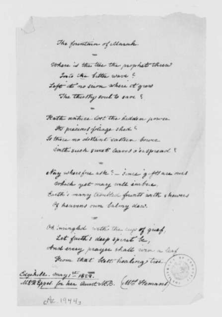 Marie R. Eppes, May 1, 1829, The Fountain Marah (poem)