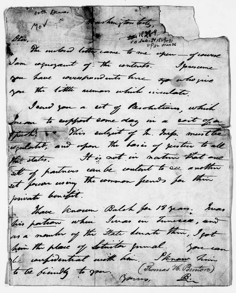 Martin Van Buren Papers: Series 3, Additional Correspondence, 1811-1853; Originals; 1829
