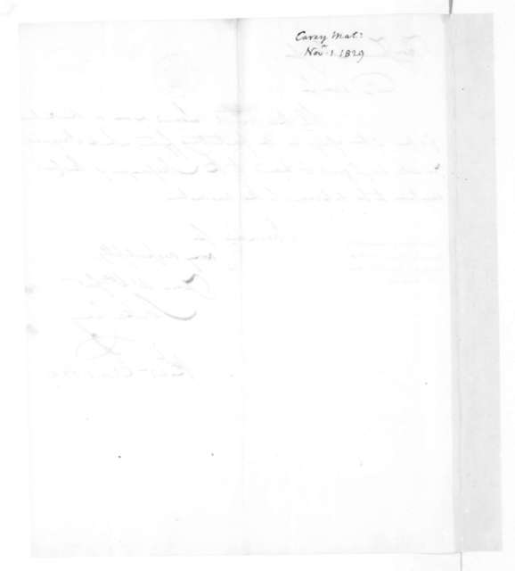 Mathew Carey to James Madison, November 1, 1829. With Note.