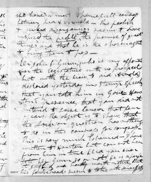 Richard Gilliam Dunlap to Andrew Jackson, July 12, 1829