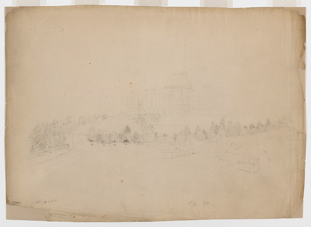 [Southwest view of the U.S. Capitol building with the Tripoli Monument at the west front. Preliminary drawing]