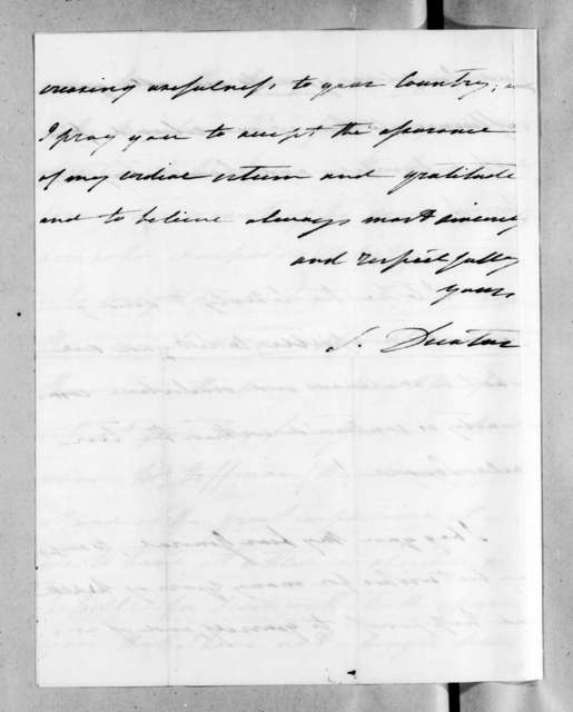 Stephen Decatur to Andrew Jackson, December 31, 1829