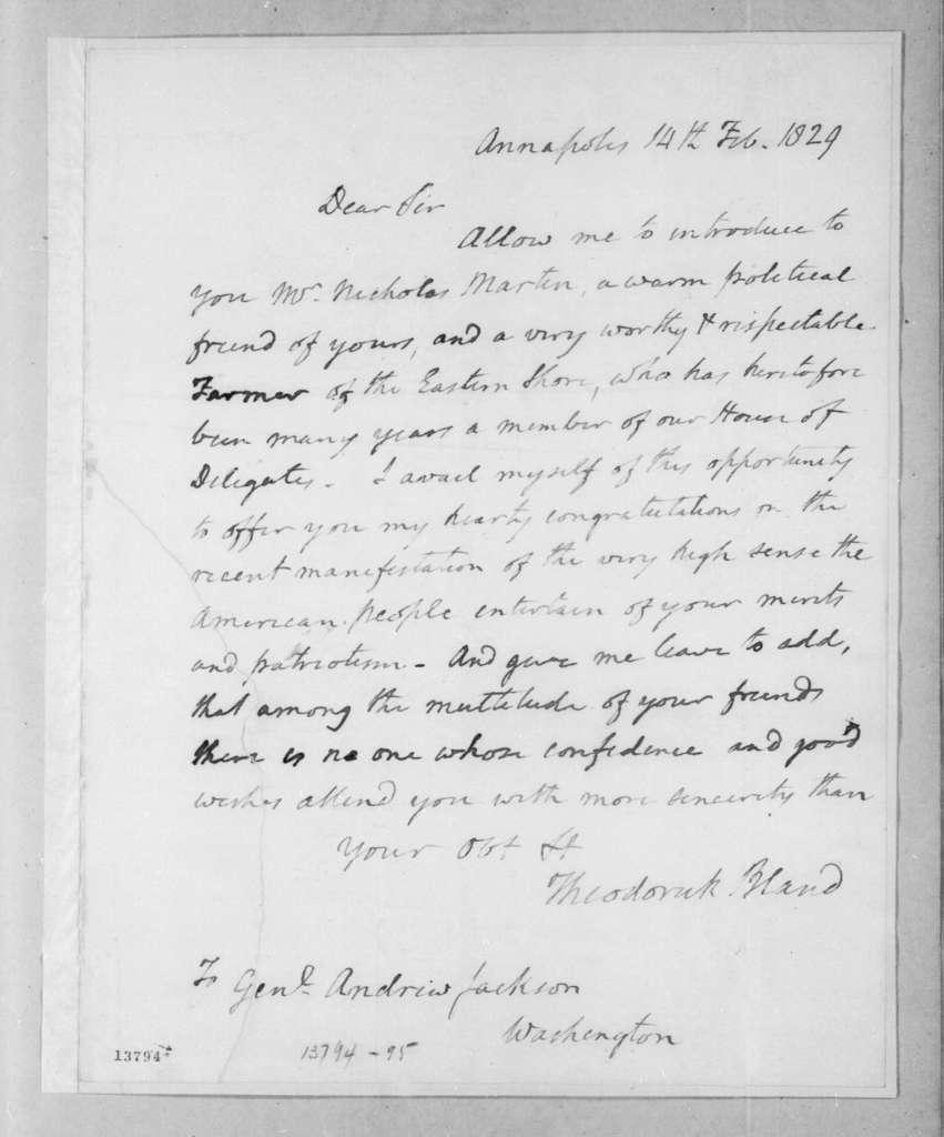Theodorick Bland to Andrew Jackson, February 14, 1829
