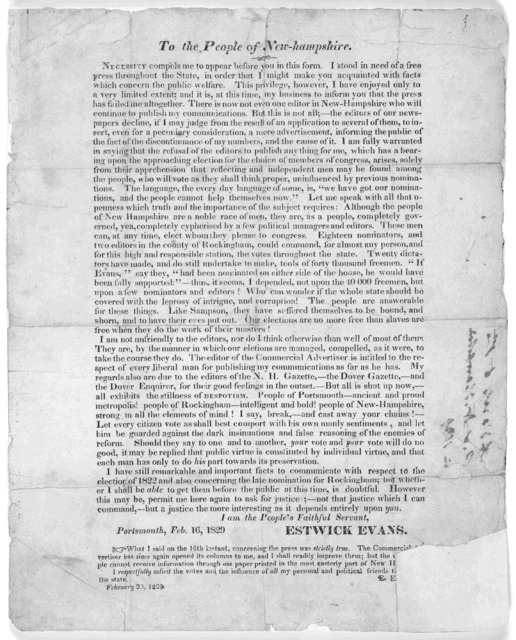 To the people of New-Hampshire. Necessity compels me to appear before you in this form. I stood in need of a free press throughout the State, in order that I might make you acquainted with facts which concern the public welfare. This privilege,