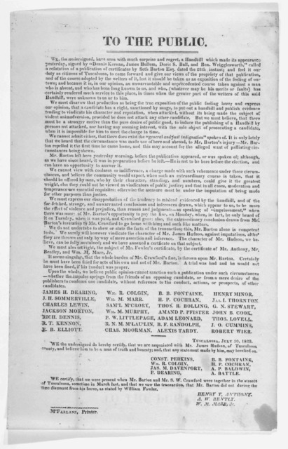 To the public ... July 30, 1829.