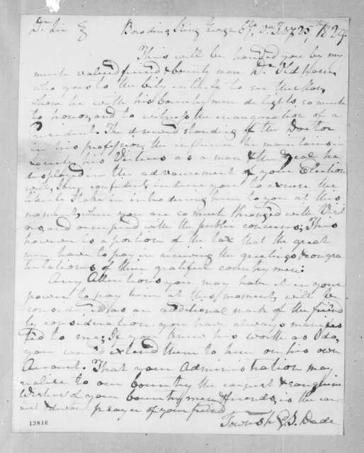 Townshend Stuart Dade to Andrew Jackson, February 25, 1829