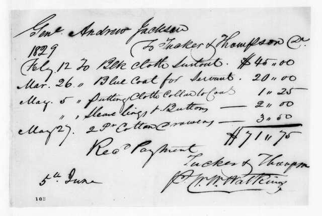 Tucker & Thompson to Andrew Jackson, June 5, 1829