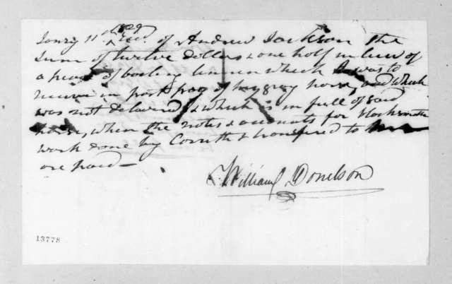 William Donelson to Andrew Jackson, January 11, 1829