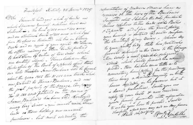 William R. Griffith to James Madison, December 25, 1829. Account and Land Grants.