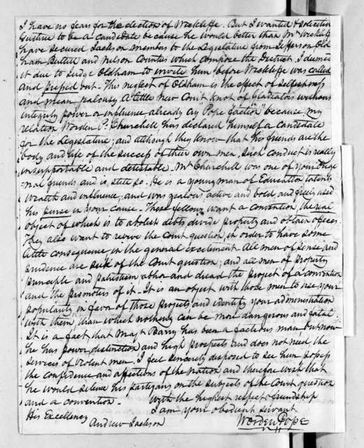 Worden Pope to Andrew Jackson, May 31, 1829