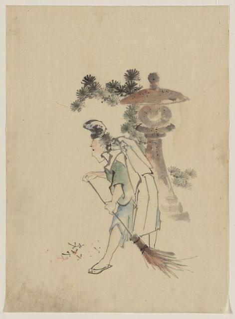 [A man sweeping pine needles that have fallen from a tree near a stone shrine]