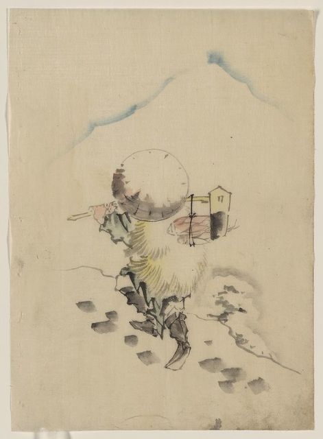 [A man, wearing a conical hat, a straw or feather outer garment, and boots, is carrying a long-handled tool, possibly a dipper or mallet, from which fish are hanging]