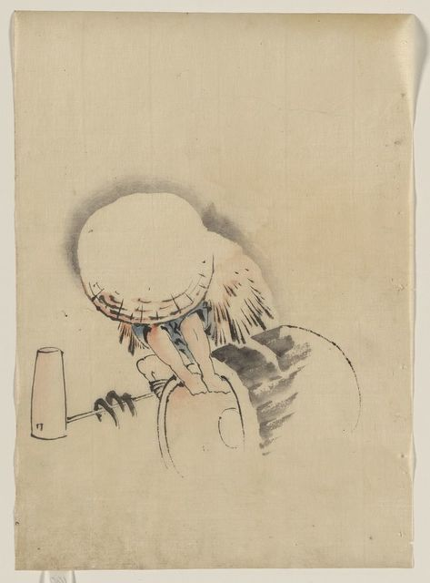 [A man, wearing a large conical hat and a straw or feather garment, attempting to turn on end a barrel-like object, possibly a mochi tub; on the ground next to him is long-handled mallet]