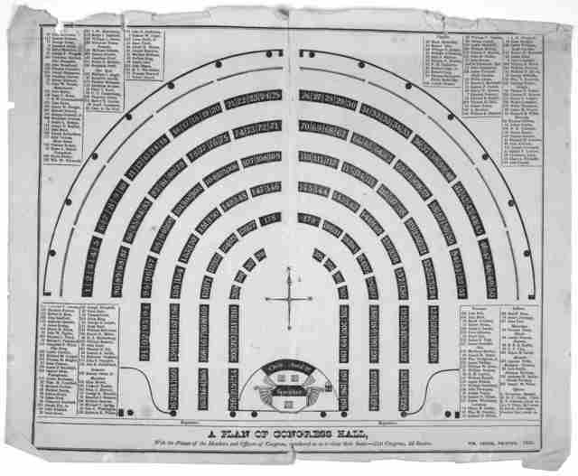 A plan of Congress hall, with the names of the members and officers, numbered so as to shew their seats:- 21st Congress. 2d session. [Washington, D.C.] Wm. Greer, printer. 1830.