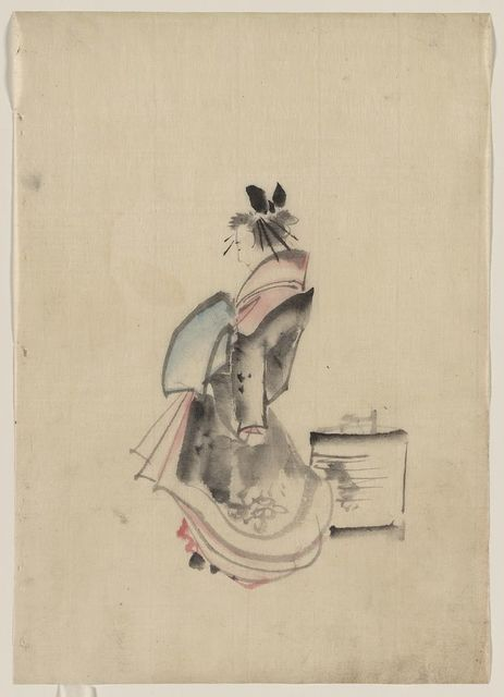 [A woman, possibly a courtesan, full-length, standing, facing left]