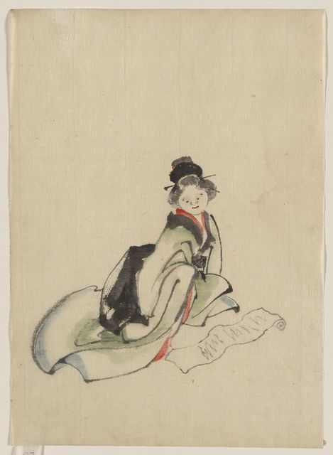 [A woman seated, facing front, reading a scroll spread out in front of her]