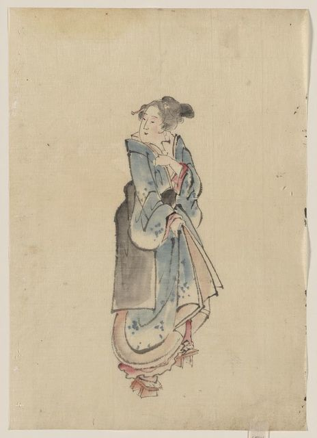 [A woman walking to the right, full-length portrait, facing left, wearing kimono and geta]