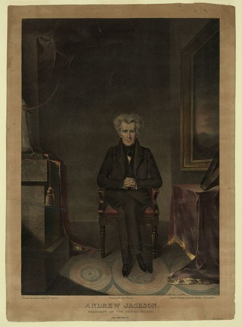 Andrew Jackson, President of the United States / from the original painting by W.J. Hubard ; drawn on stone by A. Newsam.