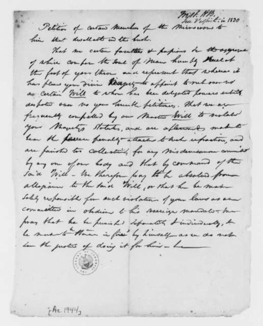 Anonymous to Unknown, 1830, Petition