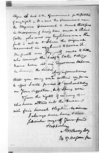 Anthony Dey to Andrew Jackson, January 22, 1830