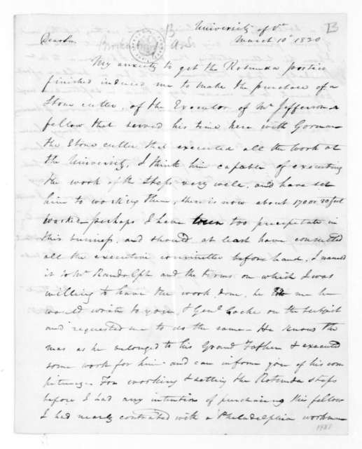Arthur Spicer Brockenbrough to James Madison, March 10, 1830.