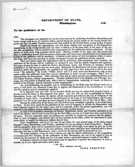 Department of state. Washington 183 To the publisher of the Sir: The newspaper now published by you has been selected for publishing the orders, resolutions, and laws ... passed during the second session of the twenty-fourth Congress ... Should