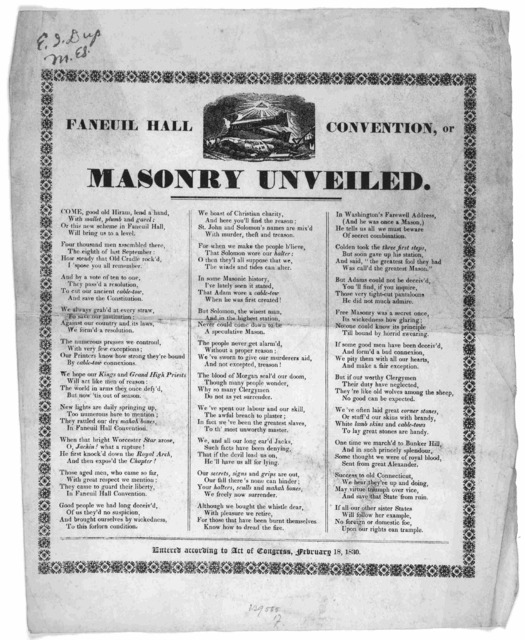 Faneuil Hall convention, or Masonry unveiled ... Entered according to act of Congress, February 18, 1830.