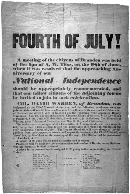 Fourth of July ! A meeting of the citizens of Brandon was held at the Inn of A. W. Titus, on the 18th of June, when it was resolved that the approaching anniversary of our national independence should be appropriately commemorated, and that our