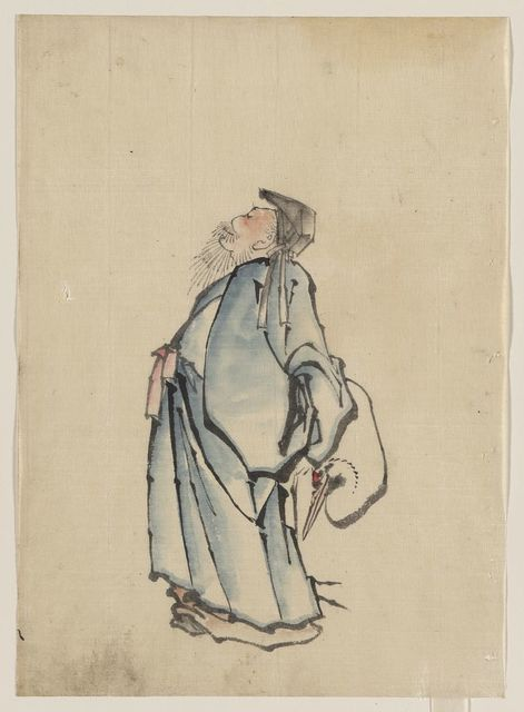 [Fukurokuju, the god of wisdom, wealth, long life, and happiness, one of the seven lucky gods, facing left, wearing robes and a hat, with a red-crowned crane standing to his right]