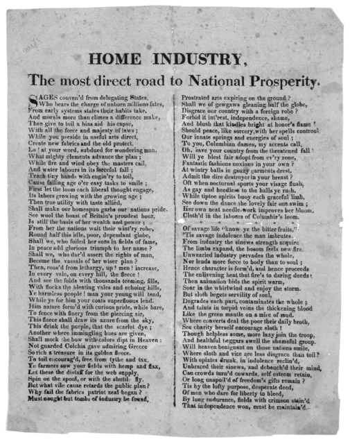 Home industry, the most direct road to national prosperity. [183-?].