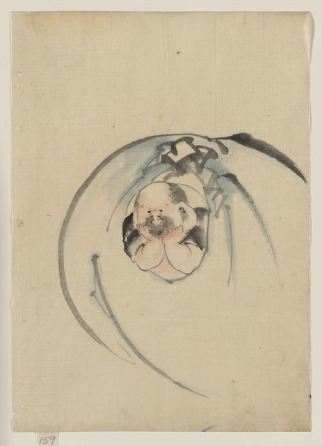 [Hotei, the god of good fortune, one of the seven lucky gods, facing front with his head resting on his hands, peering out through an opening in his bottomless bag of goods]