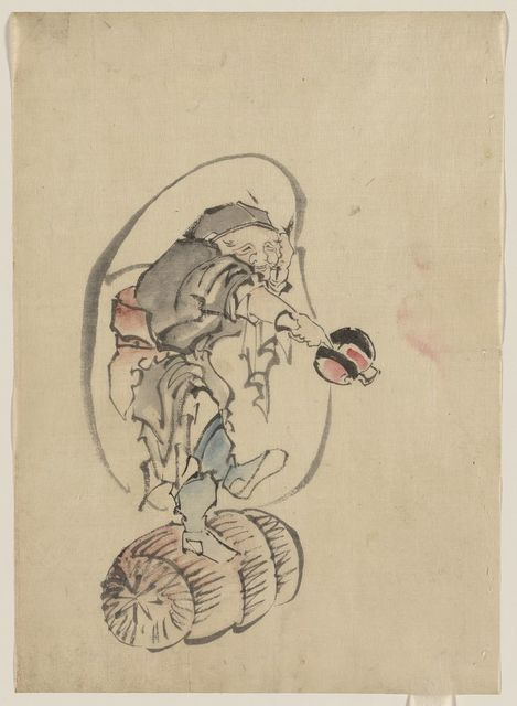 [Hotei, the god of good fortune, one of the seven lucky gods, facing right, standing on a rolling barrel, holding a mallet in his right hand and carrying his large bottomless bag of goods]