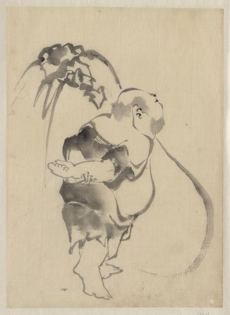 [Hotei, the god of good fortune, one of the seven lucky gods, right profile, arms folded behind his back, standing in front of his large bottomless bag of goods]