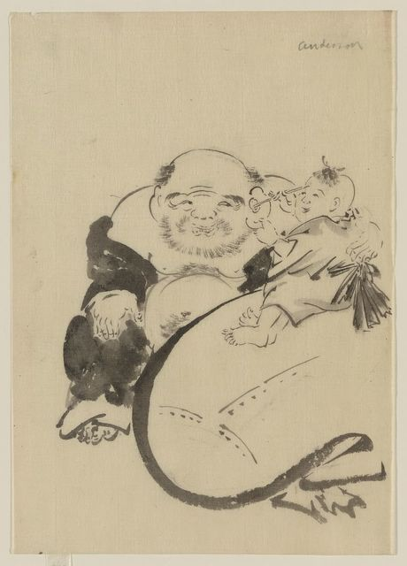 [Hotei, the god of good fortune, one of the seven lucky gods, seated, facing front, next to his bottomless bag of goods on which a small child is sitting and who appears to be cleaning Hotei's left ear]